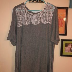 Grey and lace Loft Plus Size Top